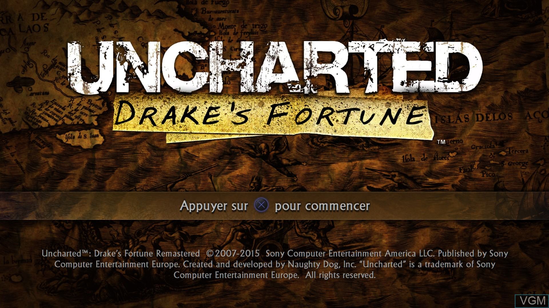 Menu screen of the game Uncharted - The Nathan Drake Collection on Sony Playstation 4