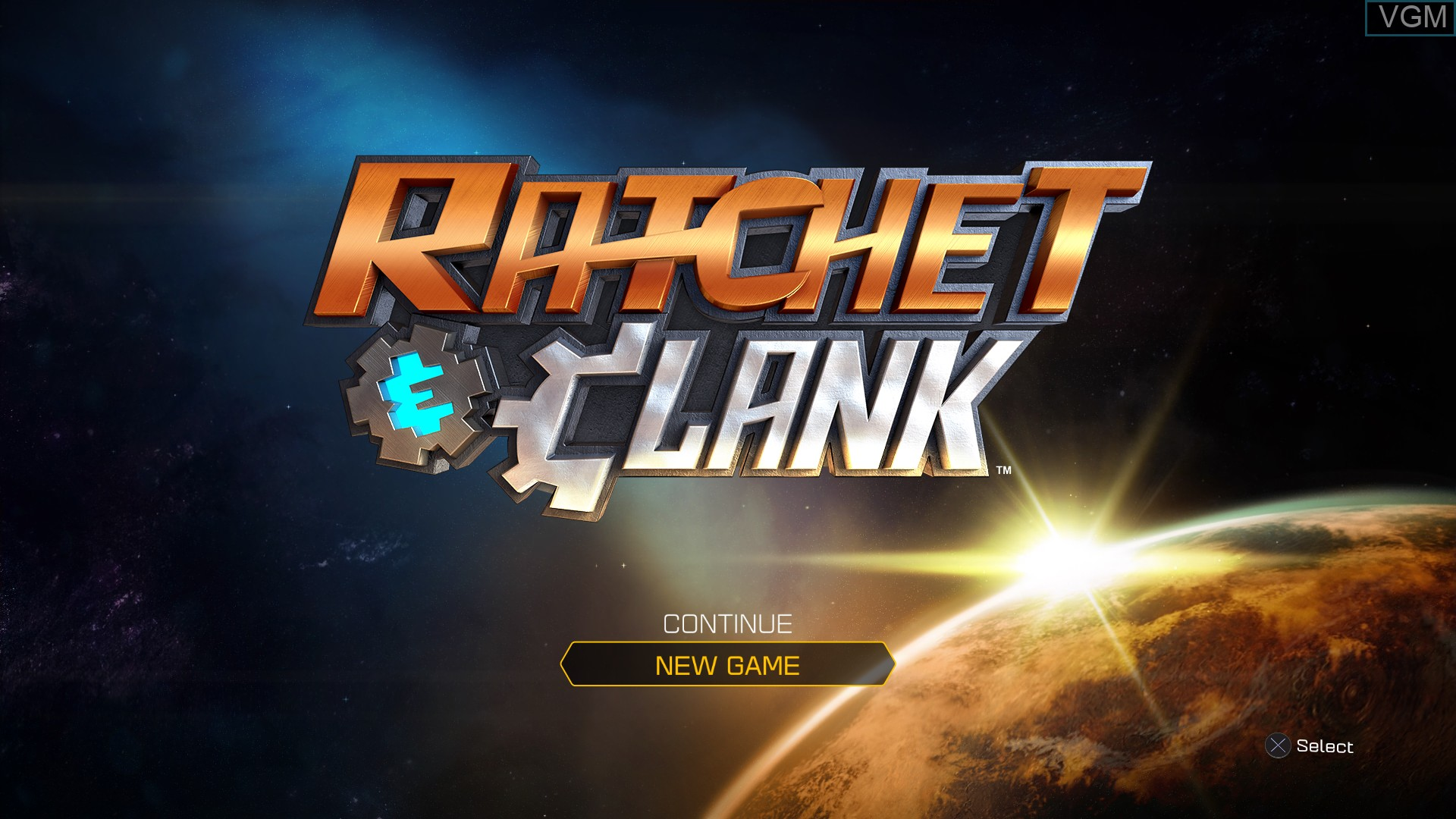 Menu screen of the game Ratchet & Clank on Sony Playstation 4