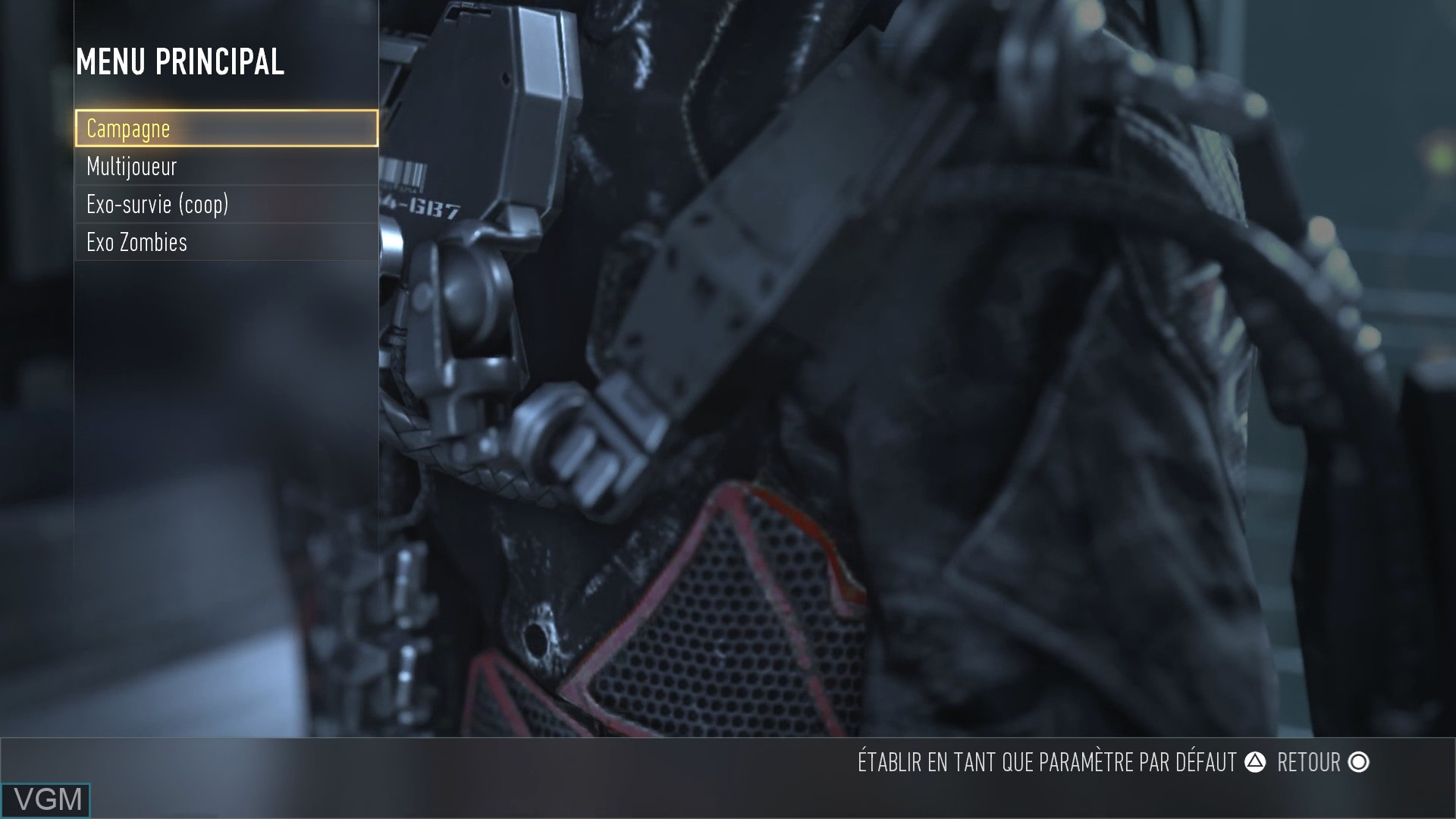 Menu screen of the game Call of Duty - Advanced Warfare on Sony Playstation 4
