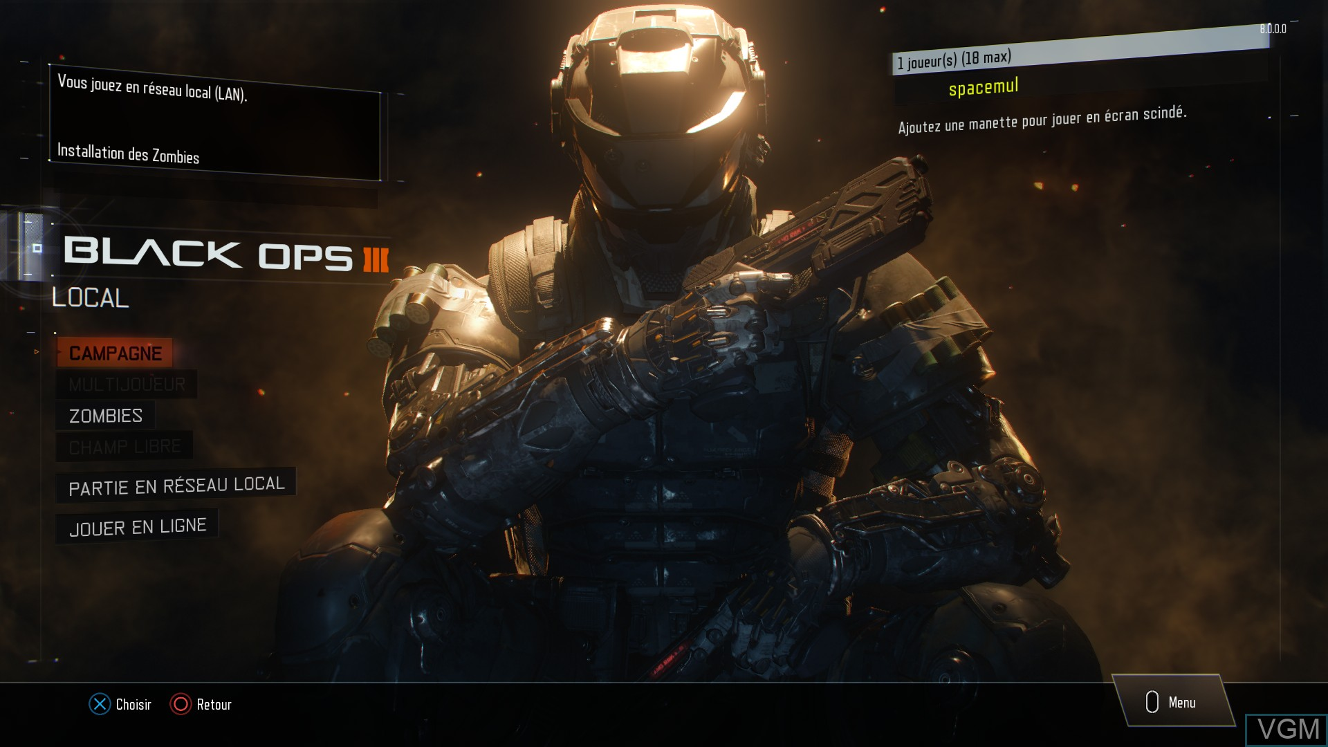 Menu screen of the game Call of Duty - Black Ops III on Sony Playstation 4