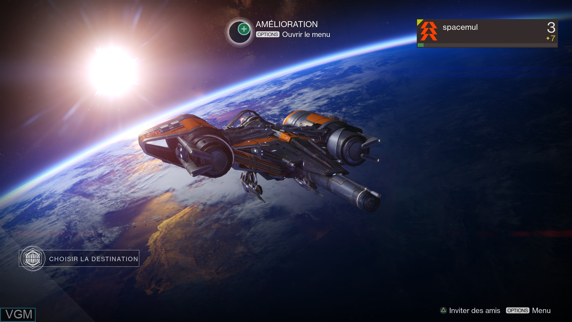 Menu screen of the game Destiny on Sony Playstation 4