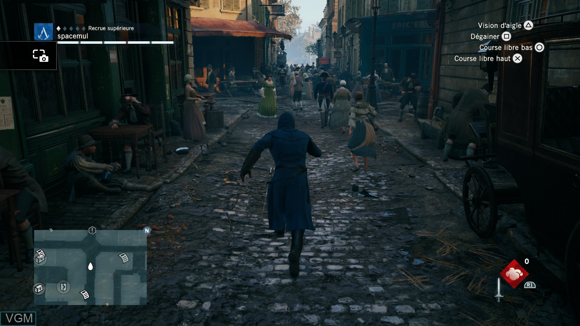 In-game screen of the game Assassin's Creed Unity on Sony Playstation 4