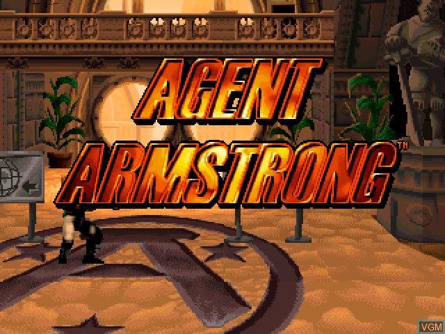Title screen of the game Agent Armstrong on Sony Playstation