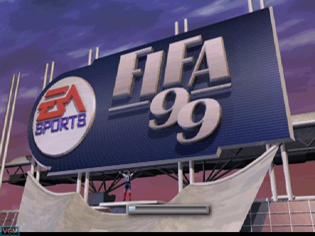 Title screen of the game FIFA 99 on Sony Playstation