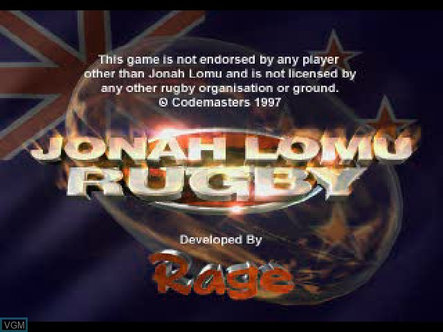 Title screen of the game Jonah Lomu Rugby on Sony Playstation