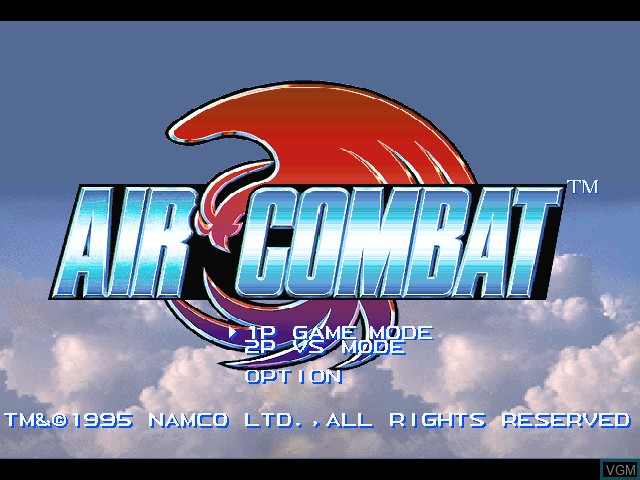 Title screen of the game Air Combat on Sony Playstation