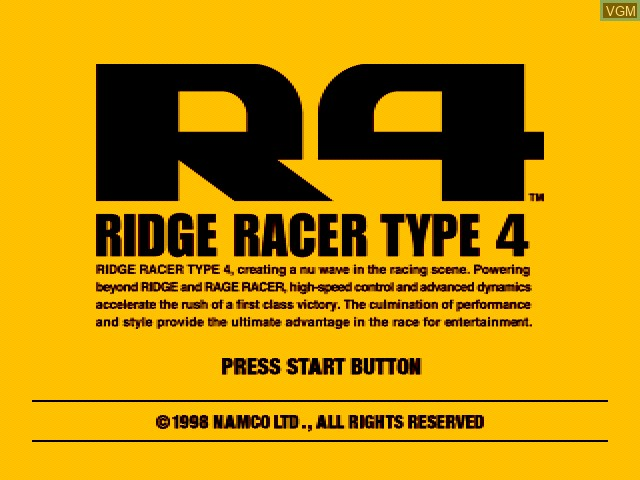Title screen of the game Ridge Racer Type 4 on Sony Playstation