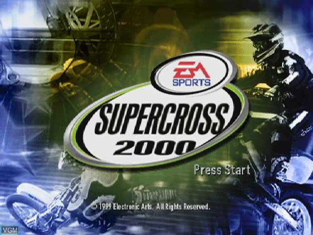 Title screen of the game EA Sports Supercross 2000 on Sony Playstation