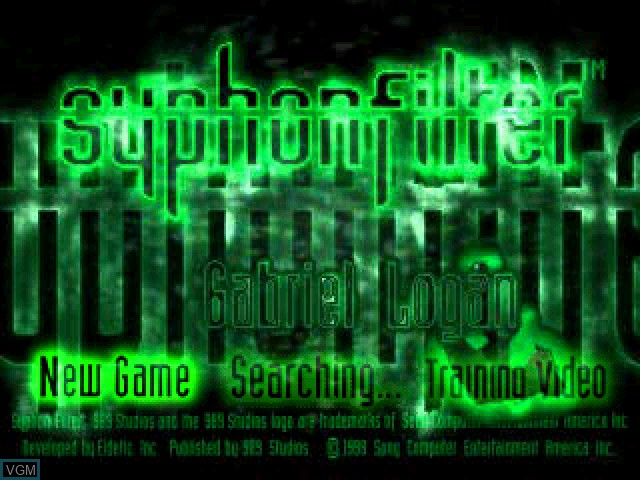 Title screen of the game Syphon Filter on Sony Playstation
