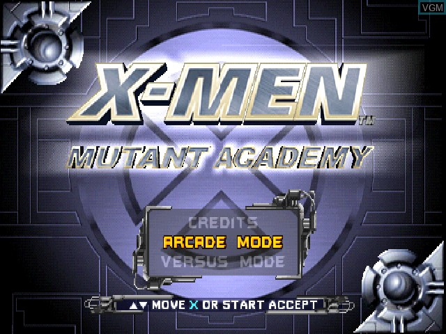 Title screen of the game X-Men - Mutant Academy on Sony Playstation