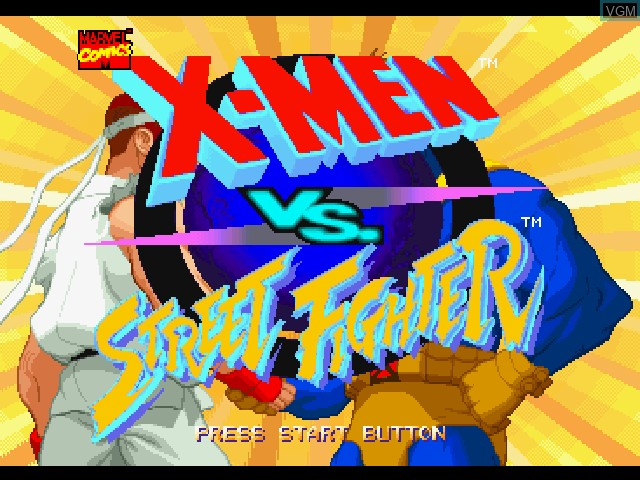 Title screen of the game X-Men vs. Street Fighter on Sony Playstation