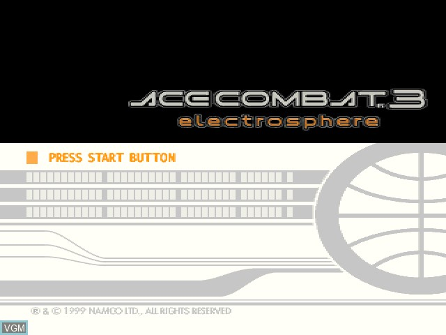 Title screen of the game Ace Combat 3 - Electrosphere on Sony Playstation
