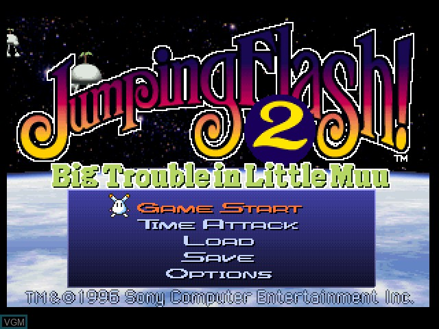 Title screen of the game Jumping Flash! 2 on Sony Playstation