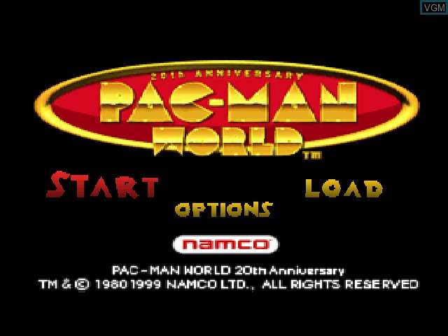 Title screen of the game Pac-Man World on Sony Playstation