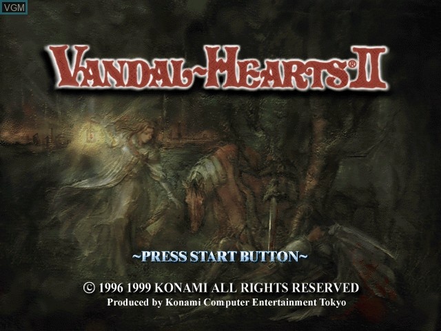 Title screen of the game Vandal Hearts II on Sony Playstation