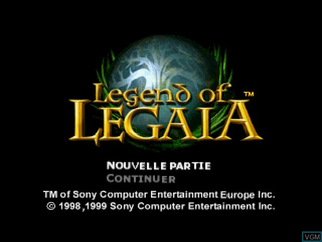 Title screen of the game Legend of Legaia on Sony Playstation