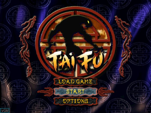 Title screen of the game T'ai Fu - Wrath of the Tiger on Sony Playstation