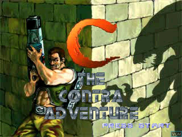 Title screen of the game C - The Contra Adventure on Sony Playstation