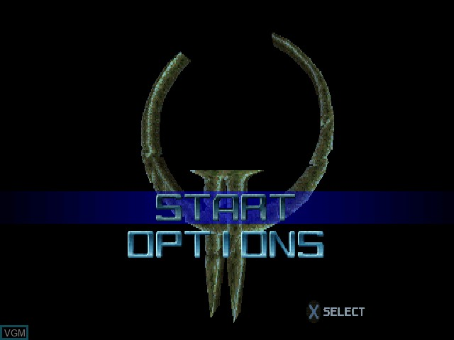 Title screen of the game Quake II on Sony Playstation