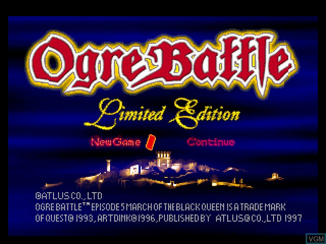 Title screen of the game Ogre Battle - Limited Edition on Sony Playstation
