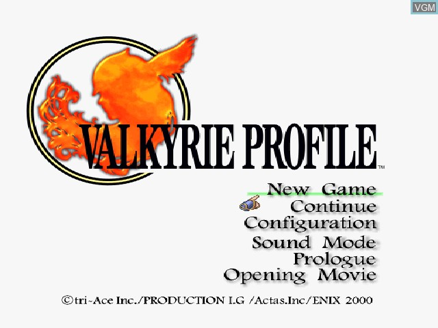 Title screen of the game Valkyrie Profile on Sony Playstation