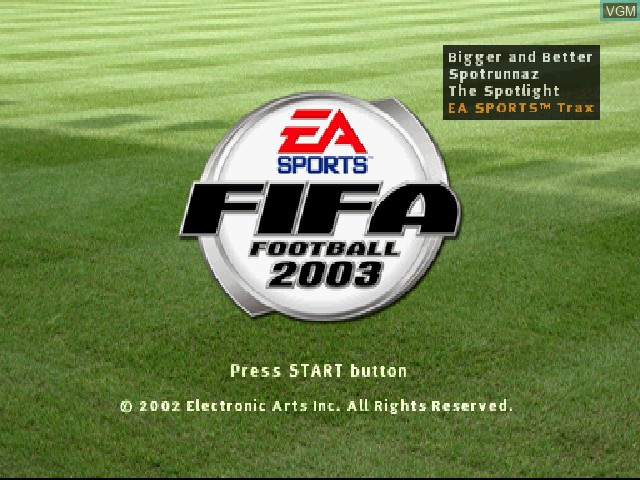 Title screen of the game FIFA Football 2003 on Sony Playstation