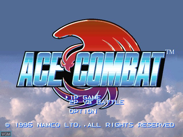 Title screen of the game Ace Combat on Sony Playstation