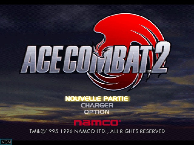 Title screen of the game Ace Combat 2 on Sony Playstation