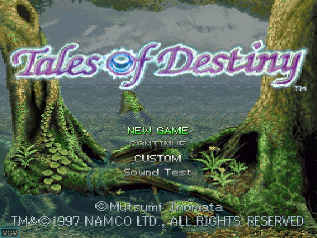 Title screen of the game Tales of Destiny on Sony Playstation