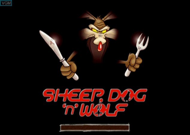 Title screen of the game Sheep, Dog 'n' Wolf on Sony Playstation