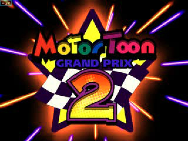 Title screen of the game Motor Toon Grand Prix 2 on Sony Playstation