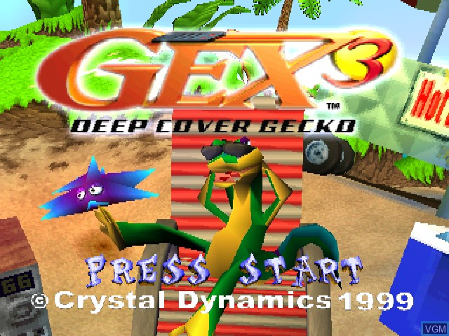 Title screen of the game Gex 3 - Deep Cover Gecko on Sony Playstation
