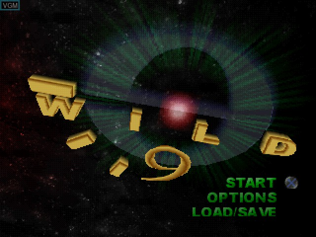 Title screen of the game Wild 9 on Sony Playstation