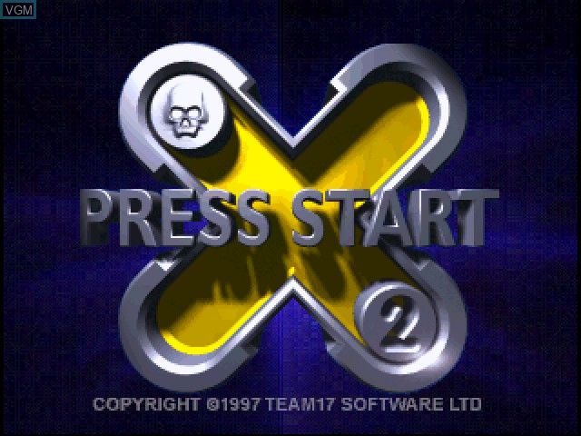 Title screen of the game X2 - No Relief on Sony Playstation