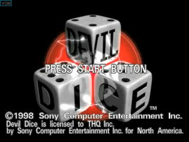 Title screen of the game Devil Dice on Sony Playstation