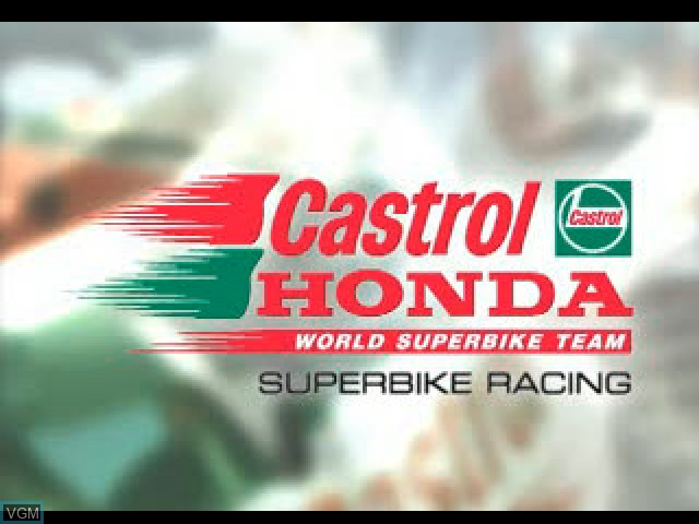 Title screen of the game Castrol Honda Superbike Racing on Sony Playstation