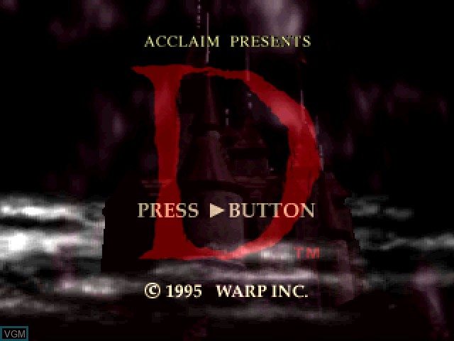 Title screen of the game D on Sony Playstation