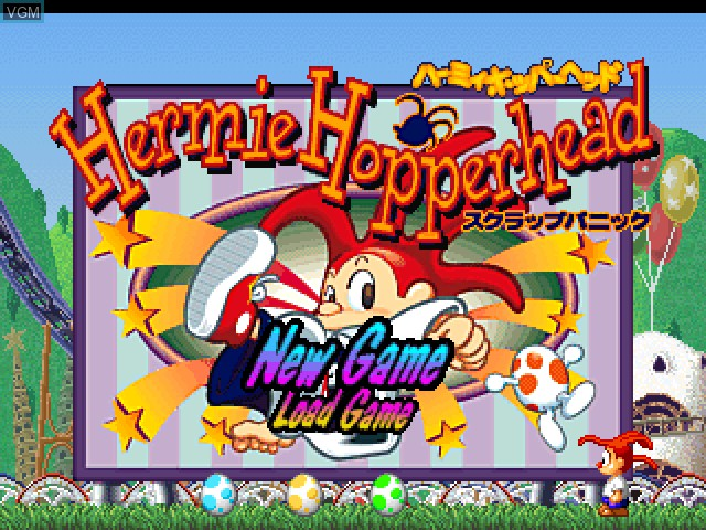 Title screen of the game Hermie Hopperhead - Scrap Panic on Sony Playstation