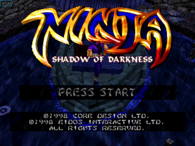 Title screen of the game Ninja - Shadow of Darkness on Sony Playstation