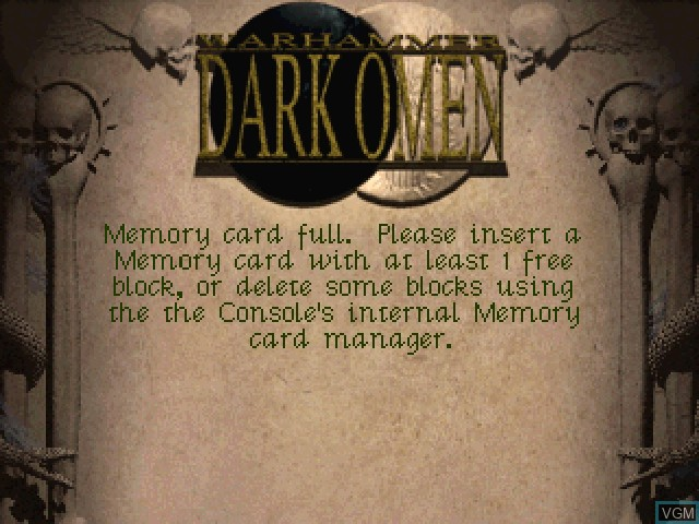 Title screen of the game Warhammer - Dark Omen on Sony Playstation