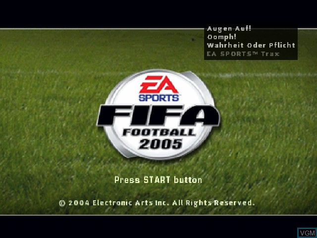 Title screen of the game FIFA Football 2005 on Sony Playstation
