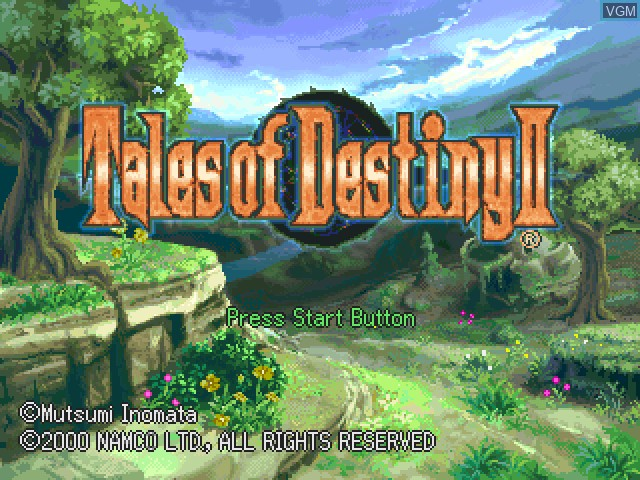Title screen of the game Tales of Destiny II on Sony Playstation
