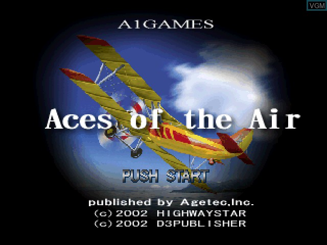 Title screen of the game Aces of the Air on Sony Playstation