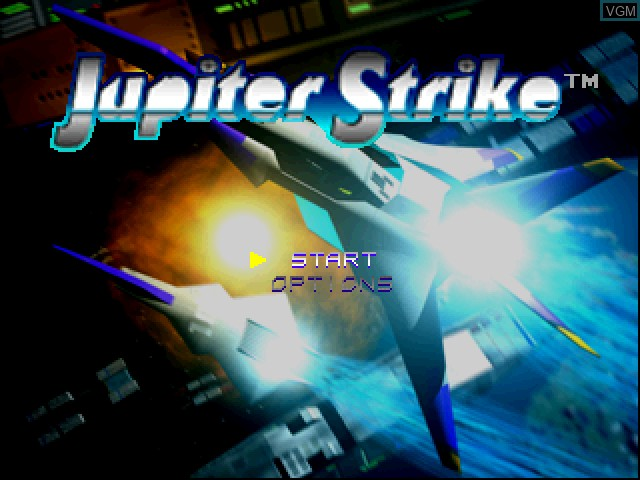 Title screen of the game Jupiter Strike on Sony Playstation
