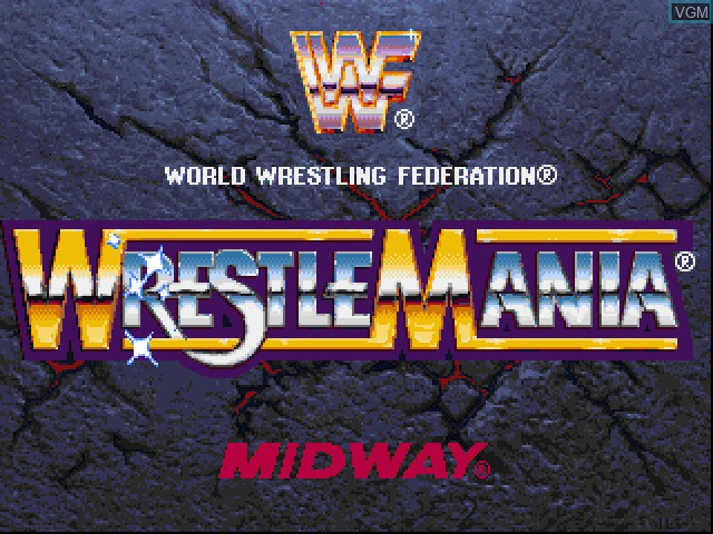 Title screen of the game WWF WrestleMania - The Arcade Game on Sony Playstation