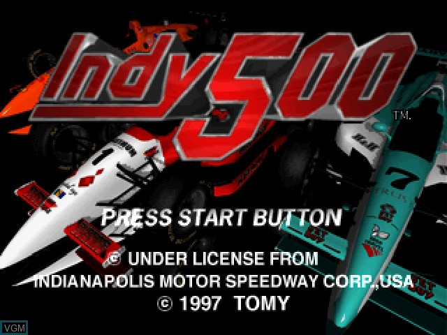 Title screen of the game Indy 500 on Sony Playstation