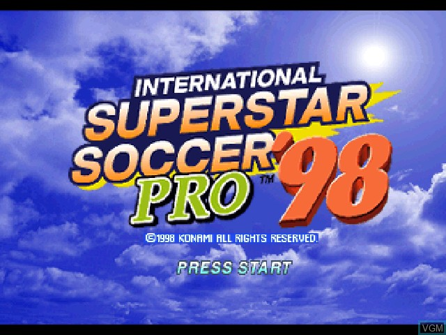Title screen of the game International Superstar Soccer Pro '98 on Sony Playstation
