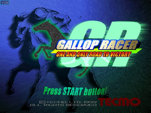Title screen of the game Gallop Racer on Sony Playstation