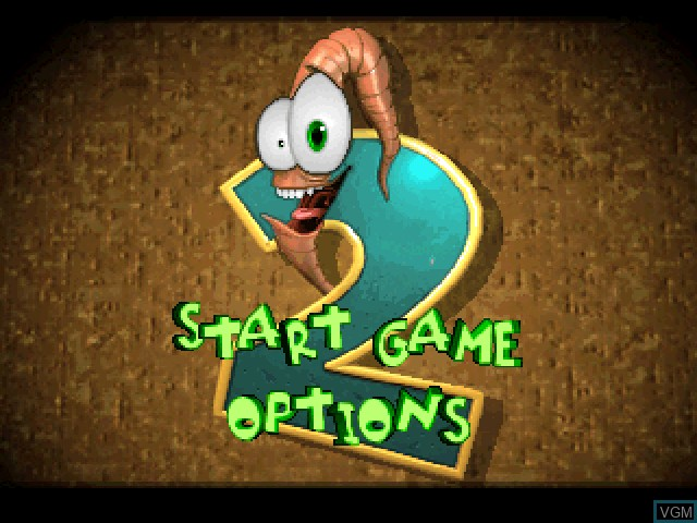Title screen of the game Earthworm Jim 2 on Sony Playstation