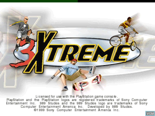 Title screen of the game 3Xtreme on Sony Playstation